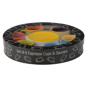 Set of 6 Harlequin Espresso Cups & Saucers