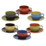 Set of 6 Harlequin Espresso Cups & Saucers