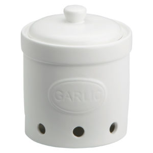 Garlic Storage Jar Matte White