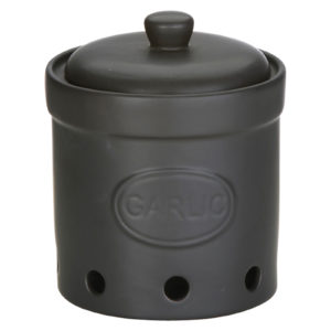 Garlic Storage Jar Matte Black