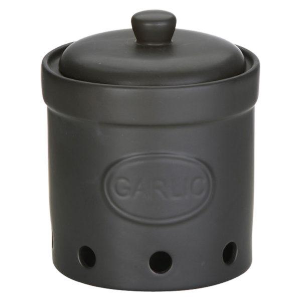 Garlic Storage Jar Matte Black