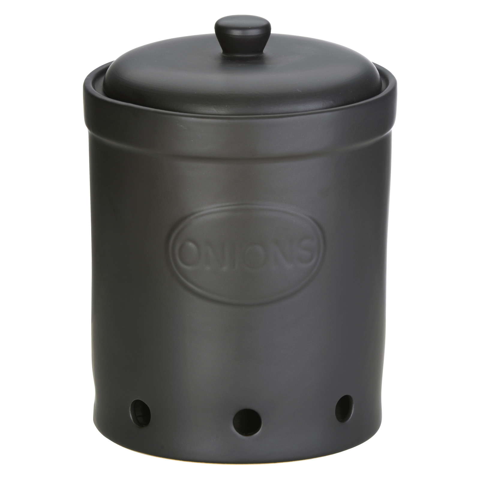 Onion Storage Jar Matte Black