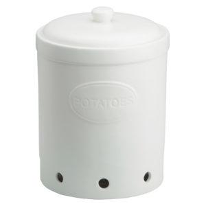 Potato Storage Jar Matte White