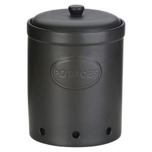 Potato Storage Jar Matte Black