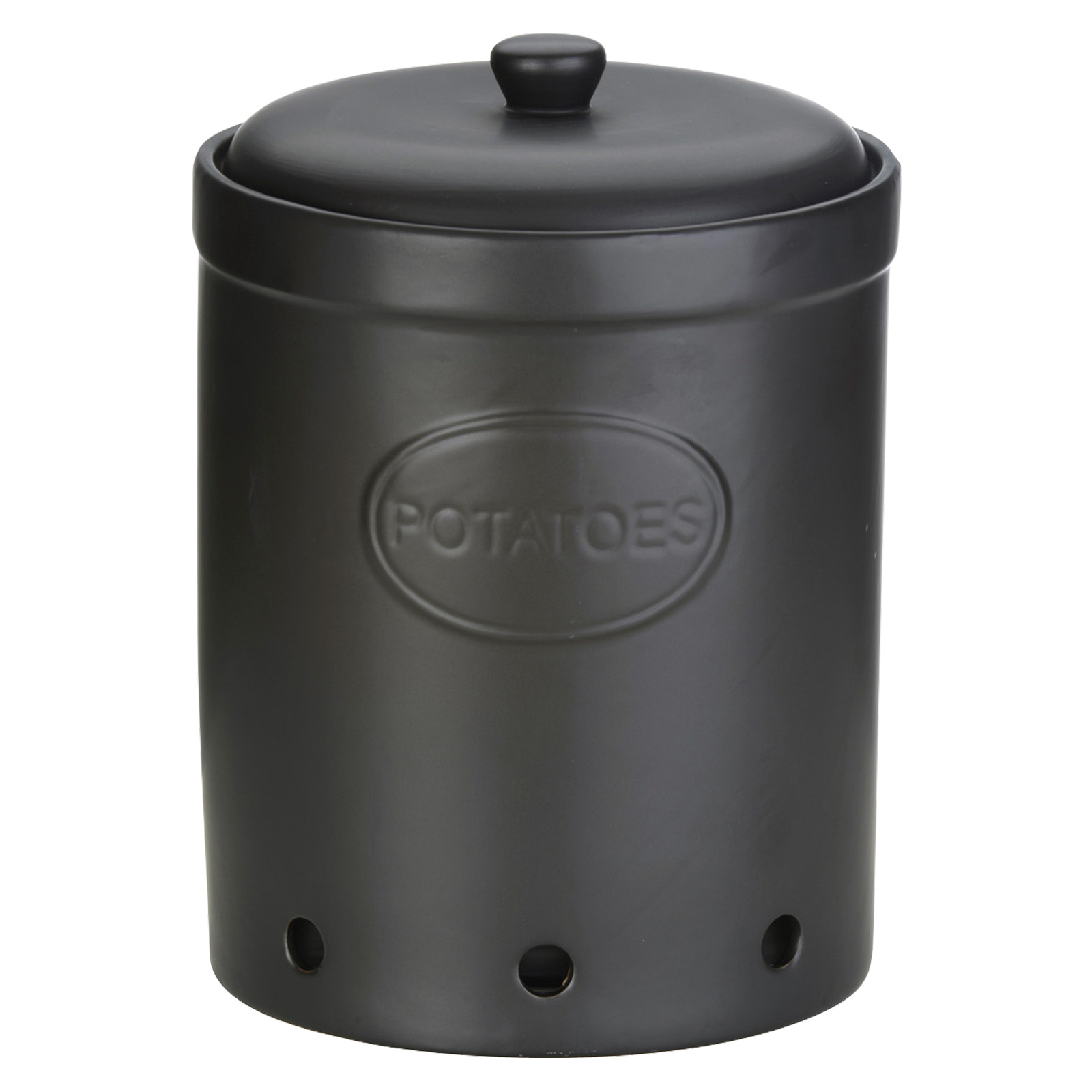 Potato Storage Jar Matte Black