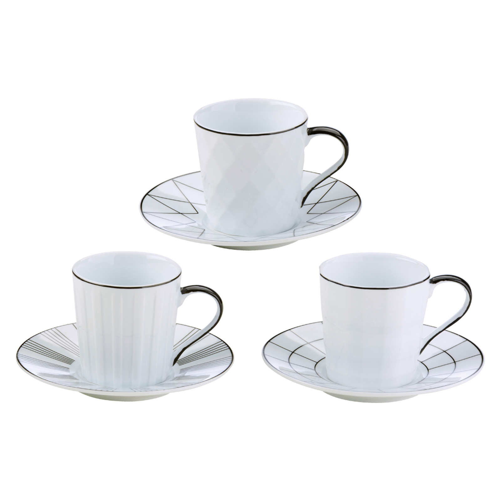 Set of 3 Lux Espresso Cups & Saucers Black