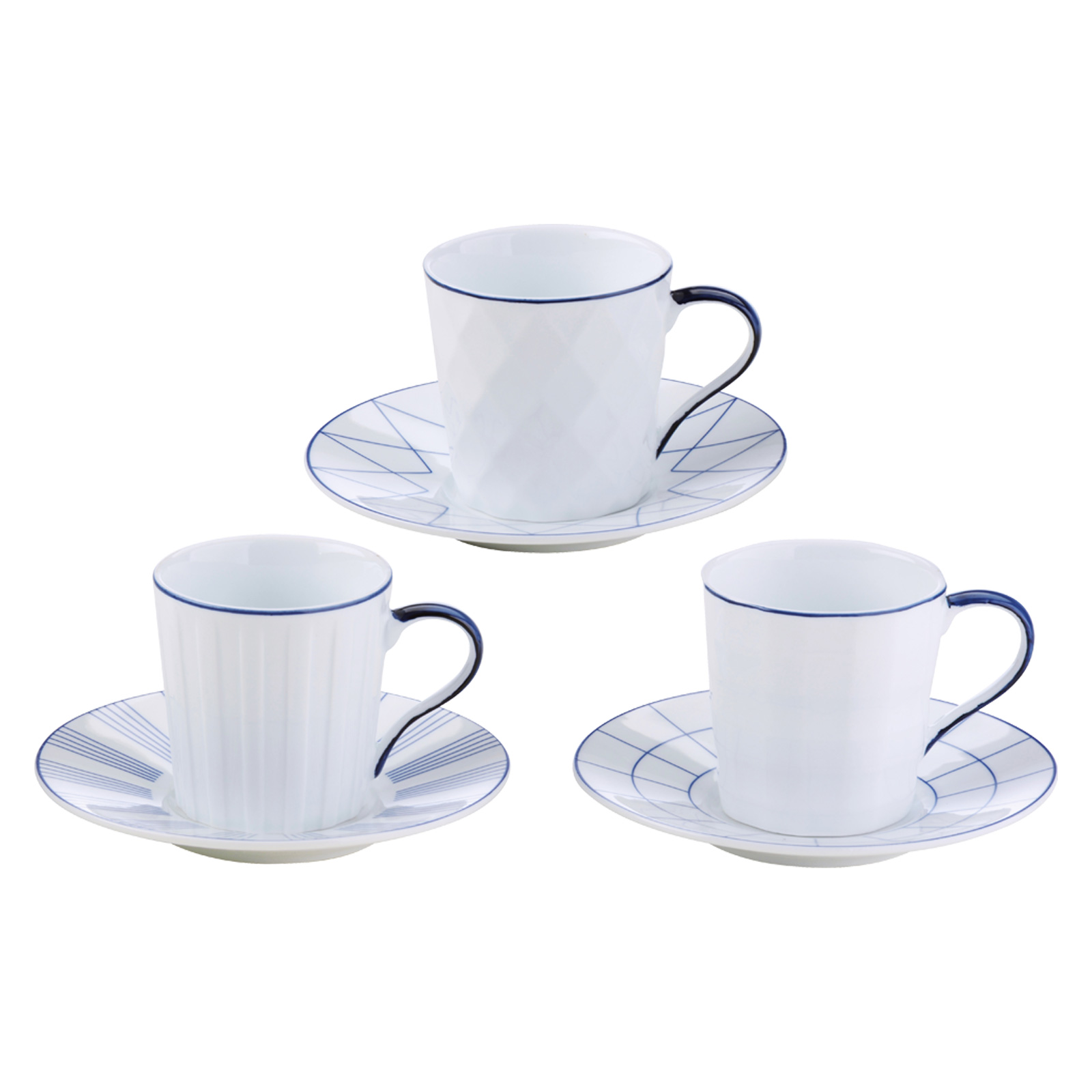 Set of 3 Lux Espresso Cups & Saucers Blue