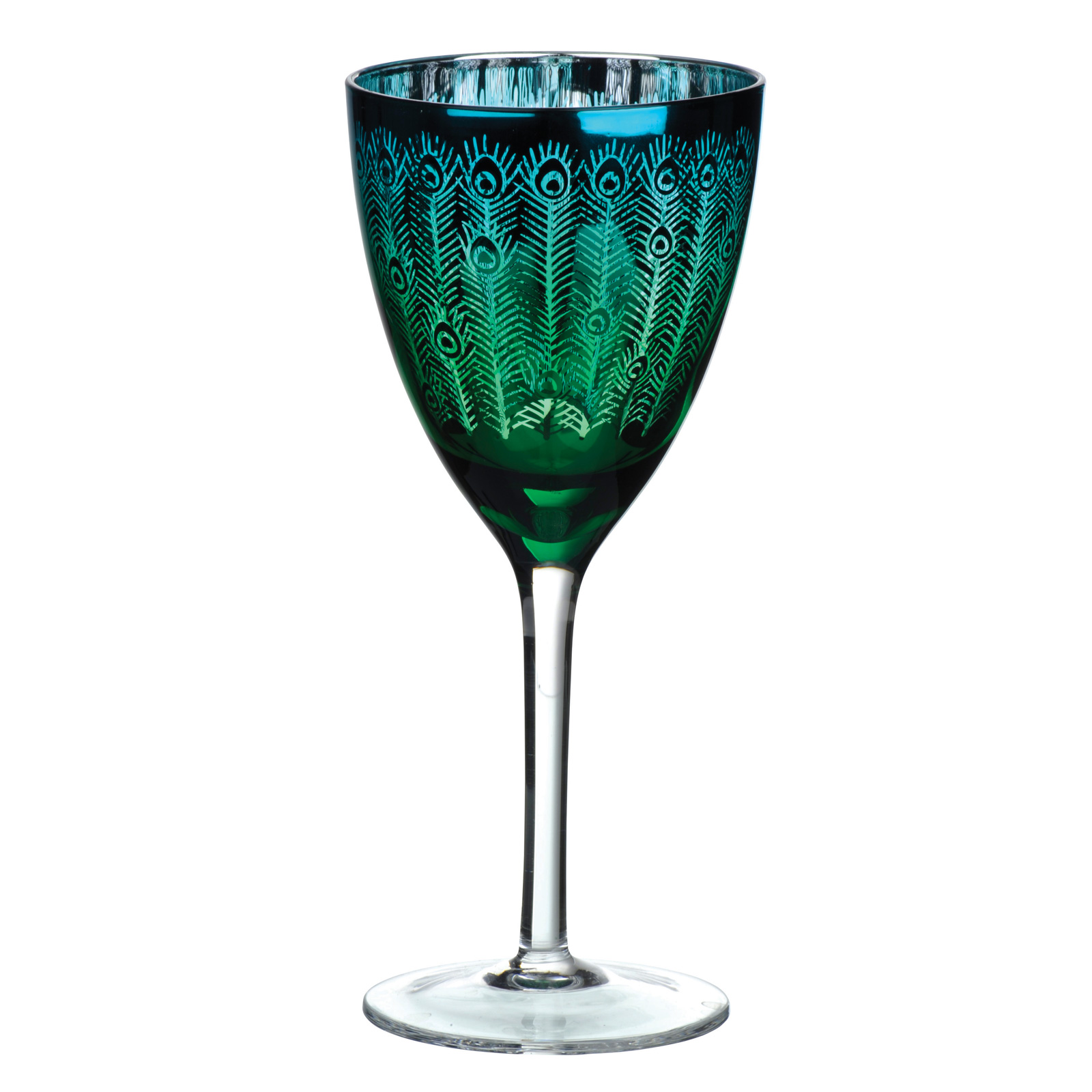 Set of 2 Peacock Wine Glasses