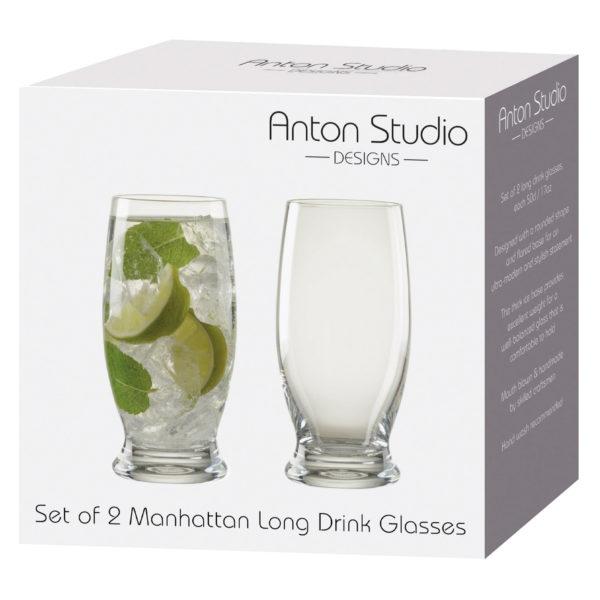 Set of 2 Manhattan Long Drink Glasses