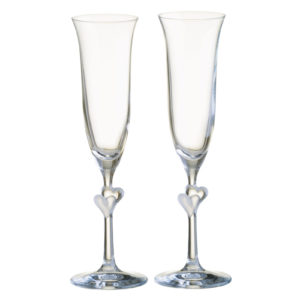 Set of 2 Heart Flutes Frosted