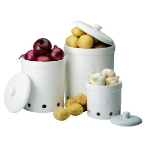 Garlic Storage Jar Matte White