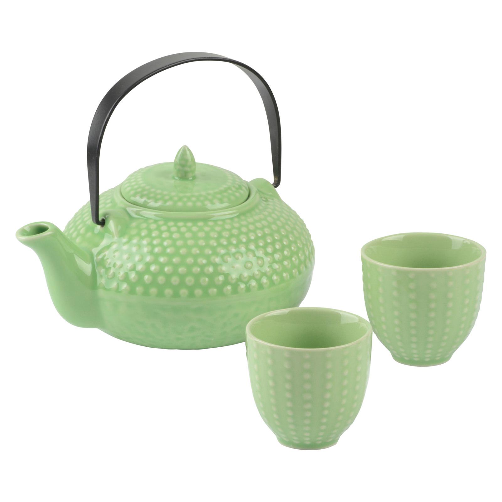 Oriental Hobnail Teapot & 2 Cups Jade