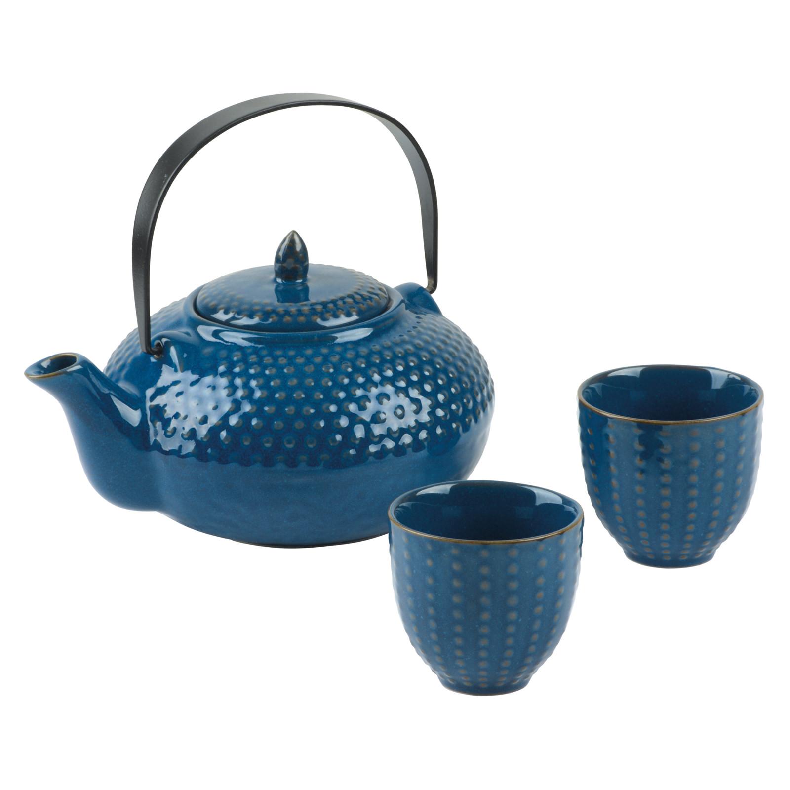 Oriental Hobnail Teapot & 2 Cups Azure