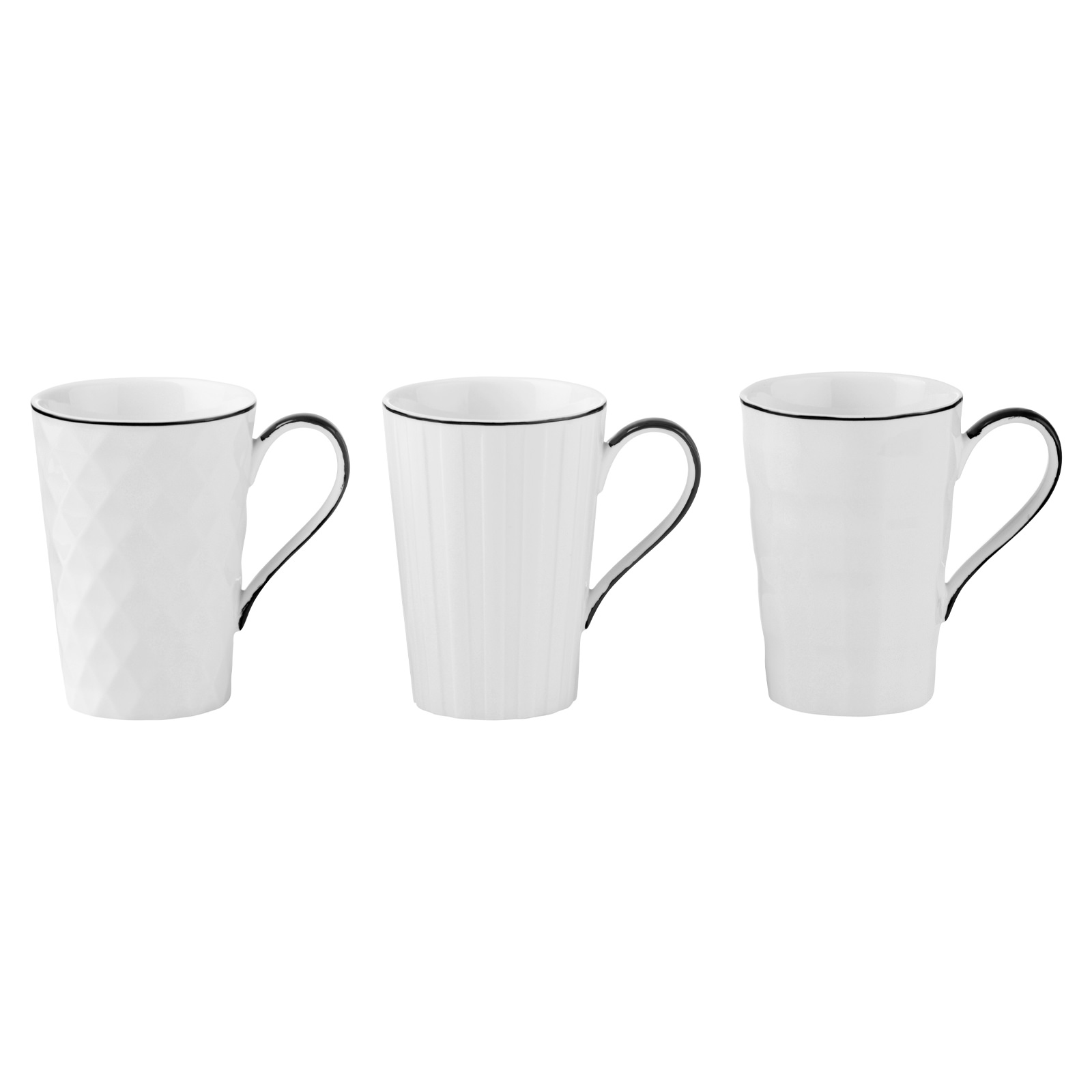 Set of 3 Lux Mugs Black