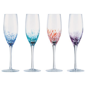 Set of 4 Speckle Champagne Flutes