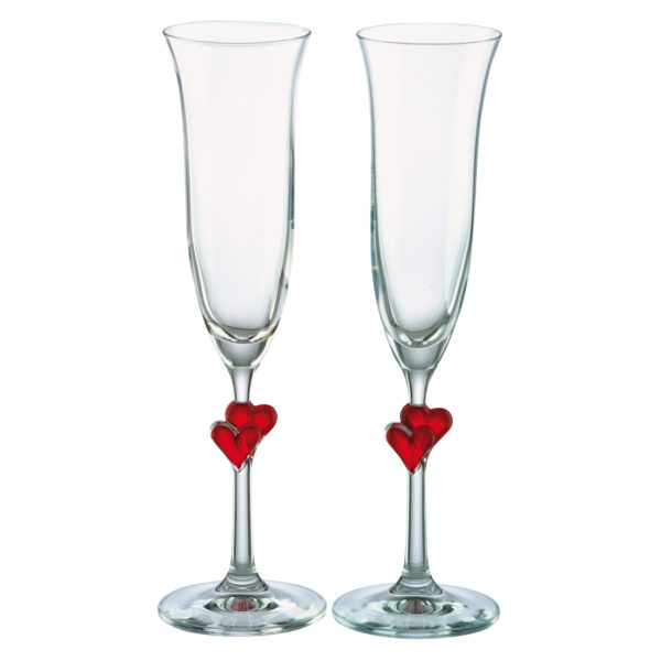 Set of 2 Heart Flutes Red