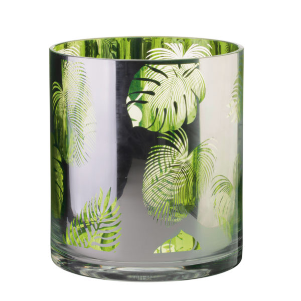 Tropical Leaves Hurricane Lamp Small