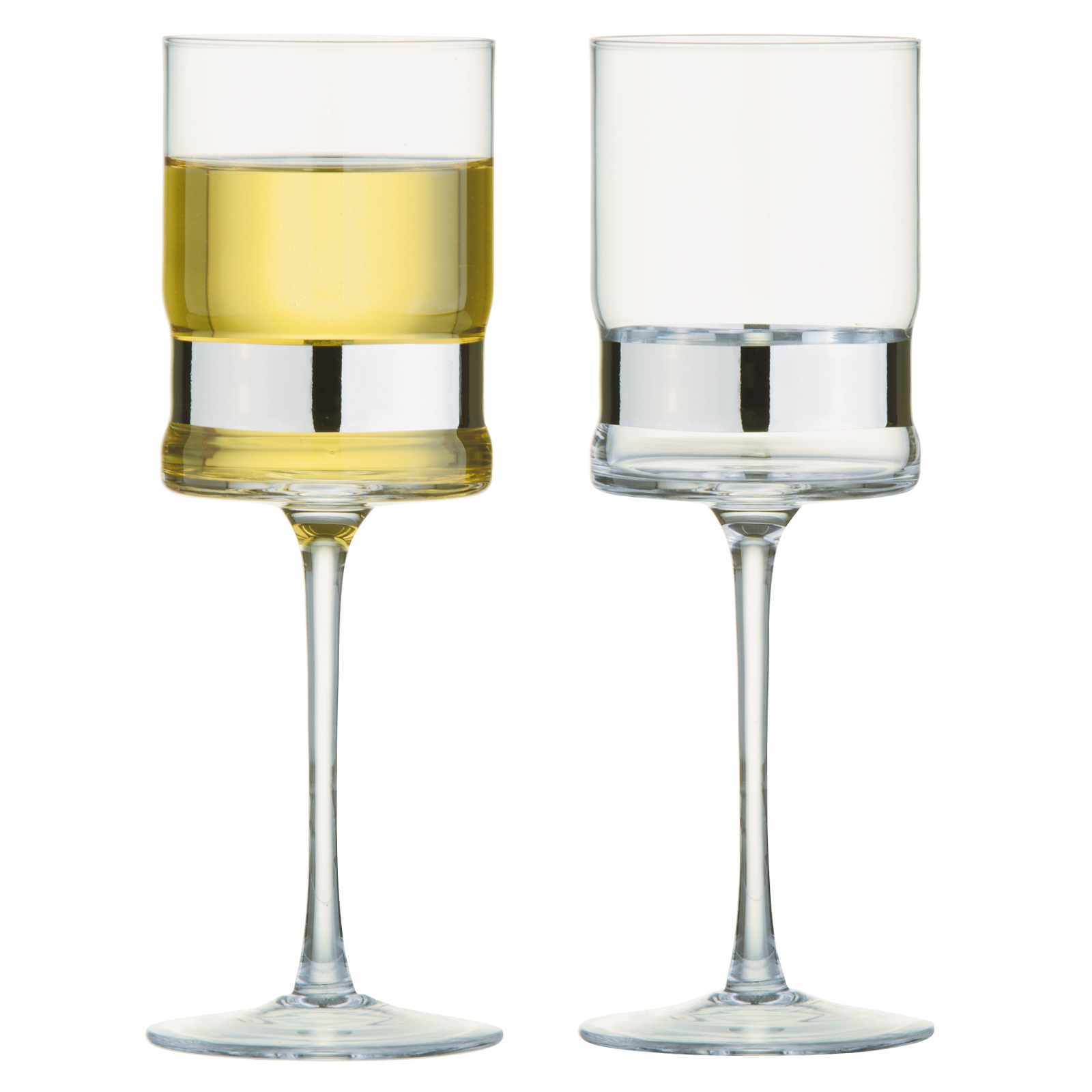 Set of 2 SoHo Wine Glasses Silver