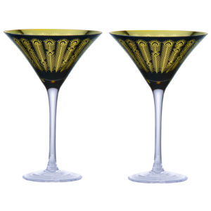 Set of 2 Midnight Peacock Cocktail Glasses