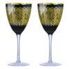 Set of 2 Midnight Peacock Wine Glasses