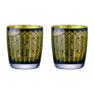 Set of 2 Midnight Peacock DOF Tumblers
