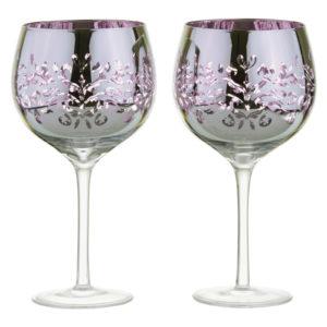 Set of 2 Filigree Gin Glasses Lilac