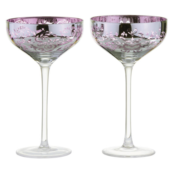 Set of 2 Filigree Champagne Saucers Lilac