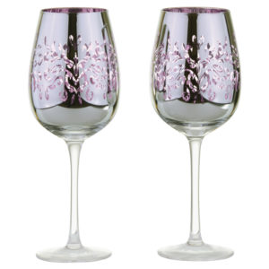 Set of 2 Filigree Wine Glasses Lilac