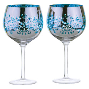 Set of 2 Filigree Gin Glasses Blue