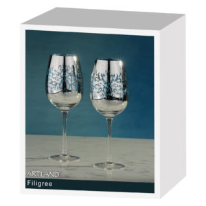 Set of 2 Filigree Wine Glasses Blue